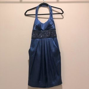 Navy Blue Sequin and Beaded Dress with Pockets